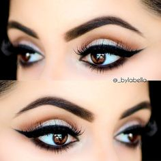 Perfect brows & winged liner.