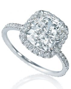 Micropave Cushion-Cut Diamond Engagement Ring from Harry Winston