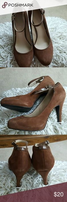 """Nine West Cognac Suede Mary Jane Pumps Gorgeous, comfortable suede pumps with hidden platform front for maximum comfort.  4"""" heel with 1"""" platform.  Great used condition.  Random rubbing that occurs naturally with suede but no scuffs or scratches.  Great used condition! Nine West Shoes Heels"""