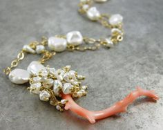 SALE  Coral branch Keishi Pearl and by elainehaydonjewelry on Etsy