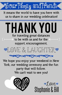 Wedding Welcome printable for guests. Cute idea to fill time before dinner