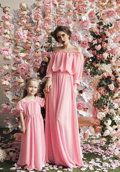 Pink delicate  matching mother and me dresses by dressionate