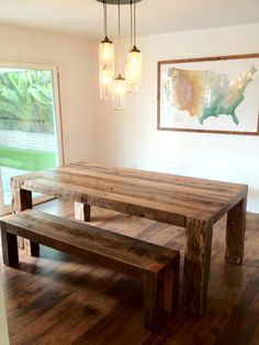 reclaimed oak table and benches