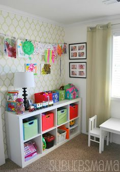 Suburbs Mama: Play Room/Guest Room Like the Storage and the Art display