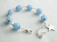 Sky Blue Glass Beaded Bracelet by Bluebirdsanddaisies on Etsy, £9.00
