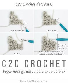 Crochet any picture! This tutorial will show you how to decrease with corner to corner crochet (c2c) stitches to make graphgans from charts.
