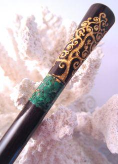 """The """"Princess Eve"""" Tree of Life Hair Stick Featuring African Blackwood Inlaid with Malachite and Gold Leaf by TimberstoneTurnings"""