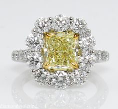 3.54ct Vintage Fancy Yellow Radiant Diamond Cluster Engagement 18k from diamondviolet on Ruby Lane