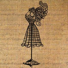 Wire Dress Form with Fairy Wings