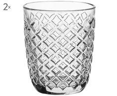Schicker Tafelschmuck aus Glas: Tumbler ARLEQUIN sorgt mit seiner plastischen Oberfläche aus kleinen Glasrauten für tolle Lichtreflexe. Gönnen Sie sich das 2er-Set als schicke Tischdekoration.