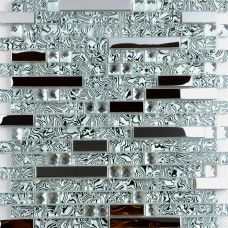 Crystal glass and metal backsplash tiles for kitchen and bathroom silver stainless steel tile bath mosaic glass diamond patterns for showers MGS052