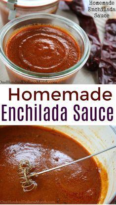 DIY Homemade Enchilada Sauce - One Hundred Dollars a Month - Homemade Enchilada Sauce Recipe, Enchilada Recipes, DIY Spice Mixes - Sauce Enchilada, Recipes With Enchilada Sauce, Homemade Enchilada Sauce, Homemade Enchiladas, Homemade Sauce, Sauce Recipes, Authentic Enchilada Sauce, Burrito Sauce Recipe, Shredded Beef Enchiladas