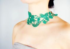 green lace choker necklace // floral hand dyed // by LaceFancy