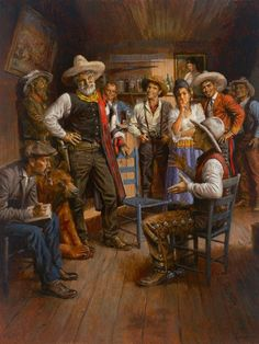Andy Thomas Judge Roy Bean and His Court Canvas Cowboy Artwork, Cowboy Pictures, Cowboy Pics, Western Cowboy, Western Style, Westerns, Western Film, West Art, Cowboys And Indians
