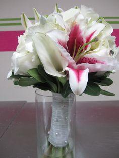 white hydrangea, stargazer lilies, white callas, white roses, green pitt, silver gems