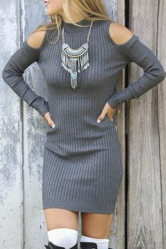 Gray Stand Neck Long Sleeve Bodycon Dress