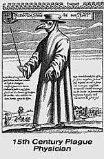 The Plague Doctor's 'beak mask' contained powerful  aromas to prevent miasmas of contagion from infecting him - this style is from Rome but they were also worn in London's Great Plague