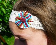 twenties style lace headband in ivory by atelierMademoiselleK, zł24.20