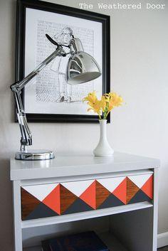 Orange, Grey and White Geometric MCM Nightstand