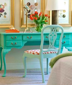 Charming Turquoise Desk Chair — Home Inspirations Decor, Furniture, Interior, Redo Furniture, Painted Furniture, Home, Furniture Inspiration, Colorful Decor, Interior Design