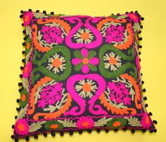 "Suzani Embroidery Cushion Cover Indian Cotton Pillow Case Cover Decor Throw 16"" #DVK #Turkish"