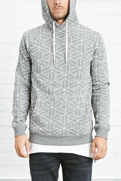 A heathered knit pullover featuring a linear geo-shape print, a drawstring hoodie, kangaroo pocket, and ribbed trim.