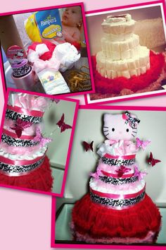 My first diaper cake that I made for my sister's baby shower. #HelloKitty