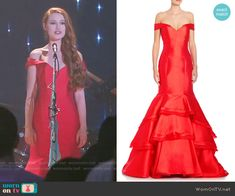 Cheryl's red off-shoulder gown on Riverdale.  Outfit Details: https://wornontv.net/64955/ #Riverdale