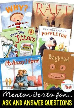 Primary mentor text suggested book list for ask and answering question- teaching questioning and inference skills- RL1.1, RL2.1, RL3.1
