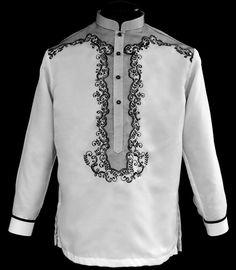 White Barong Tagalog - Barongs R us Barong Tagalog Wedding, Velvet Smoking Jacket, Filipiniana Dress, Line Shopping, Mens Fashion, Fashion Outfits, S Shirt, Mandarin Collar, Men Dress