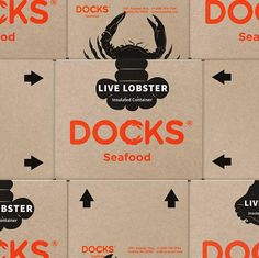 D87 @studiod87 - Docks Seafood . Featured: @worldbranddesign Submit: worldpackagingdesign.com/submit . #transportation #CorporateBranding #packaging #branddesign #packagingdesign #brandidentity #brand #marca #潮牌 #branding #logo #package #empaques #包装 #design #设计 #diseño #worldbranddesign #WBDS Packaging Design, Branding Design, Seafood Company, Live Lobster, Corporate Branding, Logos, Brand Identity, Foto E Video, World