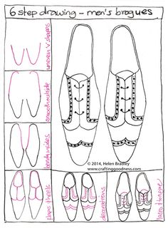 How to draw men's brogues