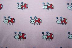 BIO Jersey Zwergenwiese Marienkäfer rosa pink Käfer Kinder Stoff Janeas World