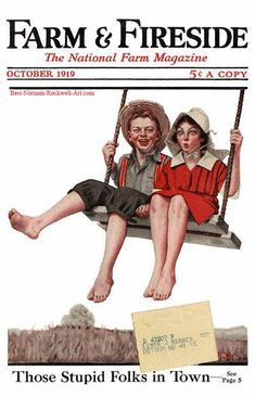 Boy and Girl Swinging by Norman Rockwell (1919)