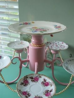 Old chandelier repurposed into cake stand, dessert tray with vintage china plates, for cupcakes, wedding reception, shower, party, teaparty, ; Upcycle, Recycle, Salvage, diy, thrift, flea, repurpose!  For vintage ideas and goods shop at Estate ReSale & ReDesign, Bonita Springs, FL