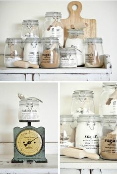 In love with mason jar crafts? If you need some cool DIY projects to make with your mason jars in under an hour, here's our updated list to use! Kitchen Organization, Kitchen Storage, Storage Jars, Kitchen Labels, Diy Kitchen, Organization Ideas, Organizing, Kitchen Canisters, Pantry Storage