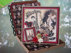 Une Boitatou et sa carte sur la thématique de Moulin Rouge. Création de Michèle. Boitatou and card on Moulin Rouge theme. Created by Michèle. Graphic 45, Creations, Scrapbooking, Layout, Frame, Cards, Decor, Vintage Maps, Moulin Rouge