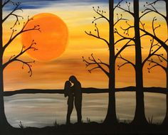 original abstract landscape painting, Silhouette painting on framed canvas, Lovely warm tones,-LOVES EMBRACE- home decor, romantic painting...