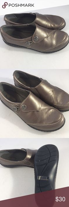 Clarks bendables. Shoes. Clarks bendables series. Shoes. Pewter color leather. These are new without box. Never worn. Really great shoes, great brand super cute detailing on buttons. Clarks Shoes