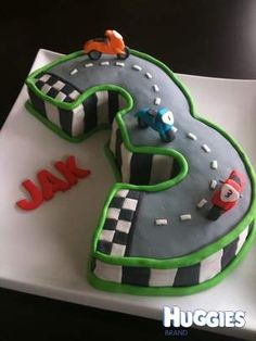 I created this for a wee friend of may daugters on his Birthday. He is motorbike crazy and requested a motorbike racetrack complete with FAST motorbikes. I shaped the cake in the number three. Moulded all the deocrations and motorbikes from fondant. Motorcycle Birthday Parties, Motorcycle Party, Motorbike Cake, Mini Motorbike, Indian Motorbike, Motorbike Girl, 125cc Motorbike, Johannes 3, Bike Cakes