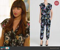 Cece's black floral jumpsuit on New Girl.  Outfit Details: http://wornontv.net/41391/ #NewGirl