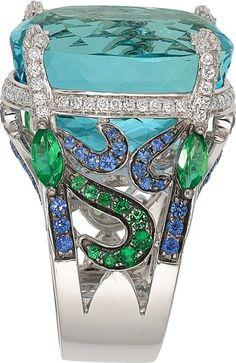 Aquamarine, Diamond, Sapphire, Tsavorite Garnet & White Gold Ring, by Badgley Mischka.