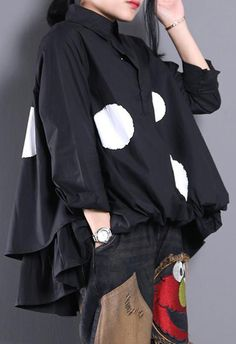 Women Lapel Asymmetric Clothes Christmas Gifts Black Dotted Blouse Long Sleeve Tops, Long Sleeve Shirts, Cotton Blouses, Cotton Shirts, Black Dots, Mode Outfits, Black Blouse, African Fashion, Blouses For Women