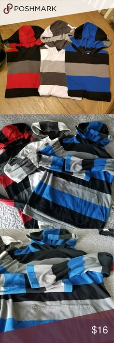 Hawk hoodies lot of 3 Large 14-16 Three Hawk hoodies with front pocket colors  1. red with black and gray stripes. 2. White with gray stripes 3. Blue with black and gray stripes Size large 14-16 Hawk Shirts & Tops Sweatshirts & Hoodies