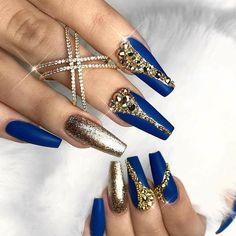 Royal Blue and Gold Nails - Nailpro | nails | Pinterest | Gold nail ...