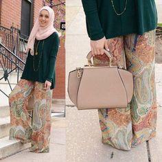 tribal palazzo pants hijab, Stylish hijab looks by Hani Hulu http://www.justtrendygirls.com/stylish-hijab-looks-by-hani-hulu/