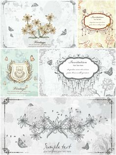 Old floral invitation card set vector | CGIspread | Free download