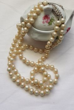 Vintage pearl necklace, double strand pearls, faux pearl necklace, 1950's fashion jewellery. - pinned by pin4etsy.com