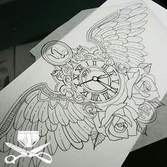 Every blue moon i get to draw stuff up. Major memorial piece. Stay tuned #empiretattooinc #linework #drawing #clock #wings #timefliesaway #handdrawn #freehand #illustration #memorial #bostonbasedartist