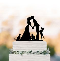 Wedding Cake topper with Cat Wedding cake topper by TopperDesigner
